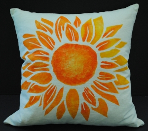 Hand stenciled sunflower on a white linen square pillow by 2 faced linen