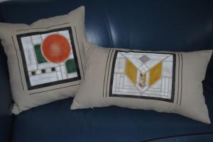 Frank LLoyd Wright stencil on lumbar and square linen pillows