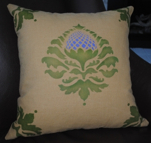 Artichoke design on old gold linen pillow
