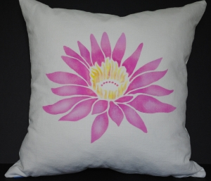 Hand stenciled pink lotus flower on a light natural linen square pillow by 2 faced linen