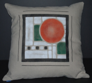 Hand stenciled Frank LLoyd Wright design on a square linen pillow