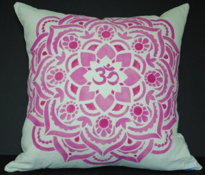 Hand stenciled pink om mandala on a light natural linen square pillow by 2 faced linen