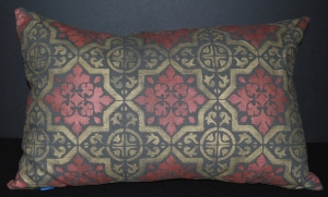 Hand stenciled gold and rose gold tile design on a charcoal lumbar pillow by 2 faced linen