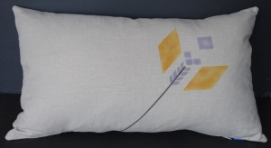 original stencil design on linen lumbar pillow