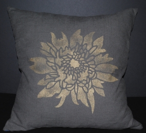 Hand stenciled single gold marigold on a charcoal linen square pillow by 2 faced linen