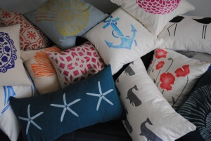 Assortment of hand stenciled linen pillows by 2 faced linen